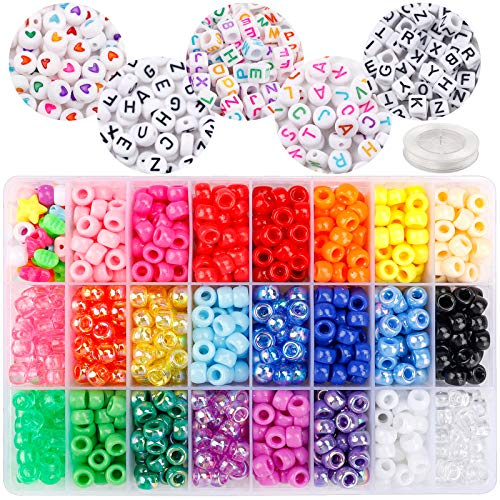 DICOBD 1900pcs Bead Set, 1200 Plastic Beads and 700 Letter Beads, 24 Color Rainbow Beads 5 Type Alphabet Beads for Bracelets Jewelry Making with 9 Meter Elastic Threads