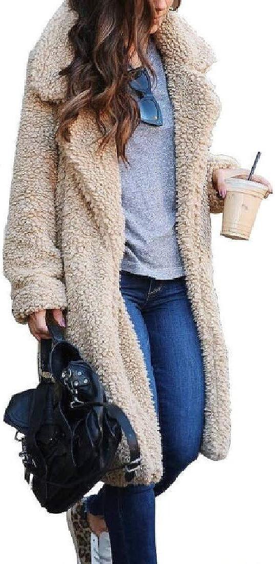 Women's Lapel Plain Faux Fur Fluffy Fall Winter Faux Fur Jacket Coat Outerwear