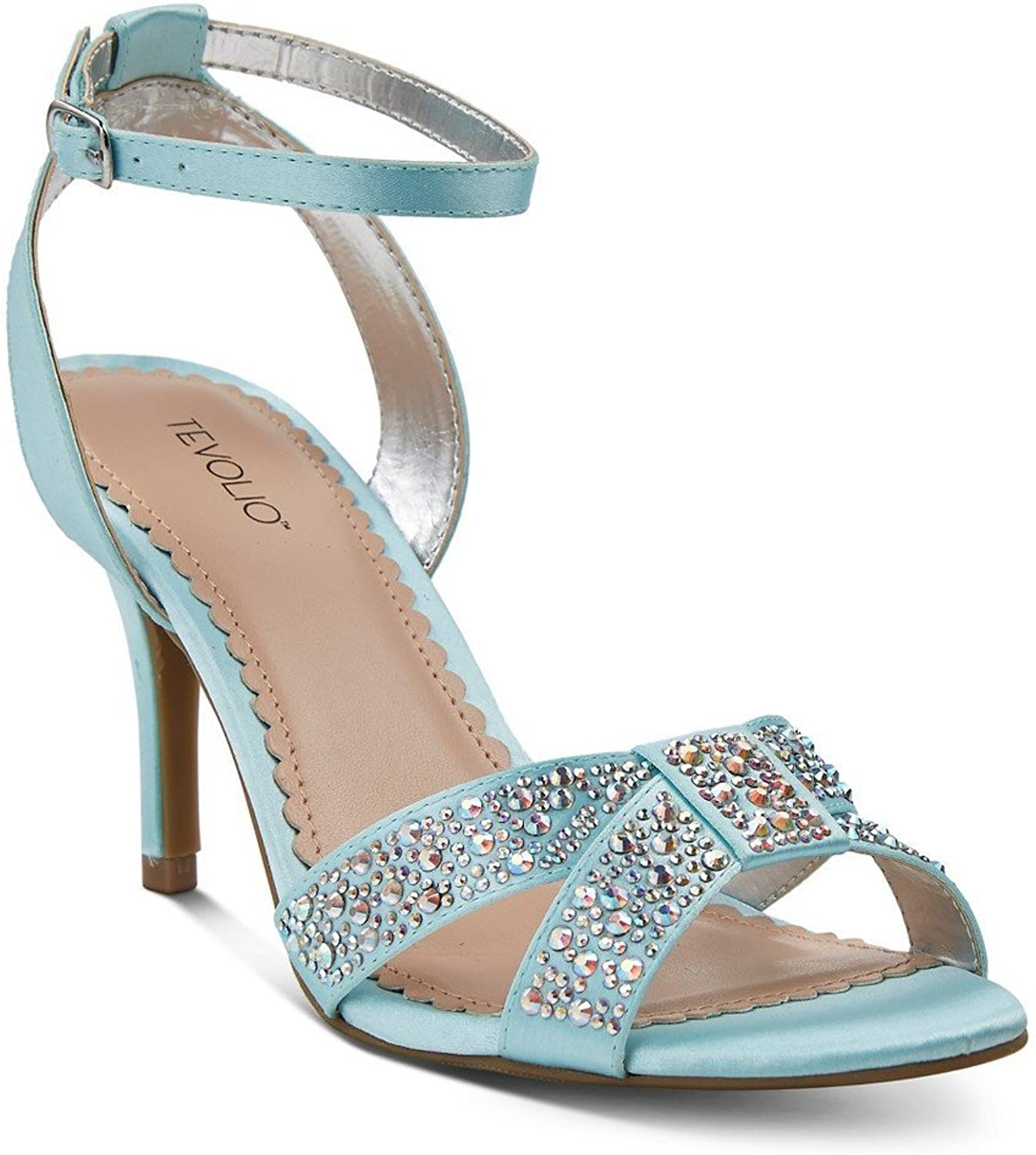 Tevolio Women's Rane Embellished Cross Strap Dress Heels (Bridal bluee)
