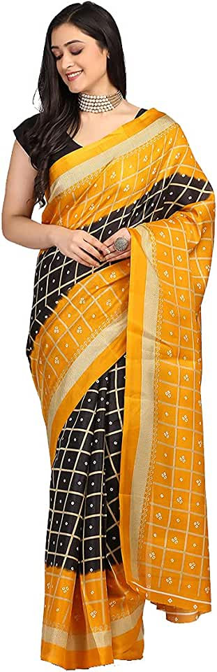 Indian Mirraw Printed Art Silk Saree With Blouse For Womens & Girls - For All Occasion Saree