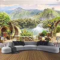 MAZF 写真の壁紙3Dガーデンマウンテンレイク風景壁画リビングルームベッドルームクリエイティブな家の装飾壁画 140cm(B)x 70 cm(H)
