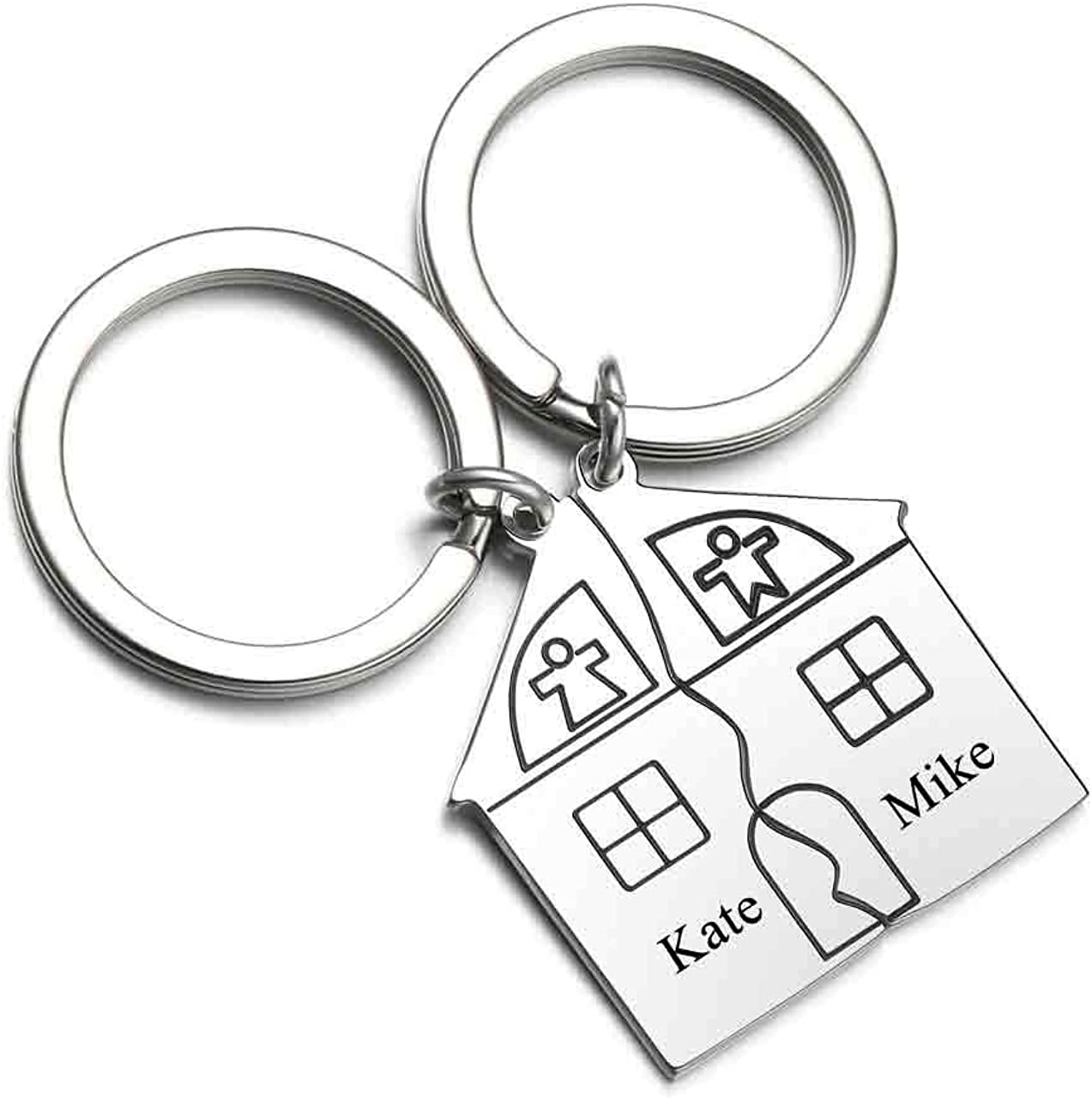 Personalized Master Free Engraving Custom 2pcs Matching House Design First Home Keychain Moving in Keyring Housewarming Gift for Couples Boyfriend Girlfriend