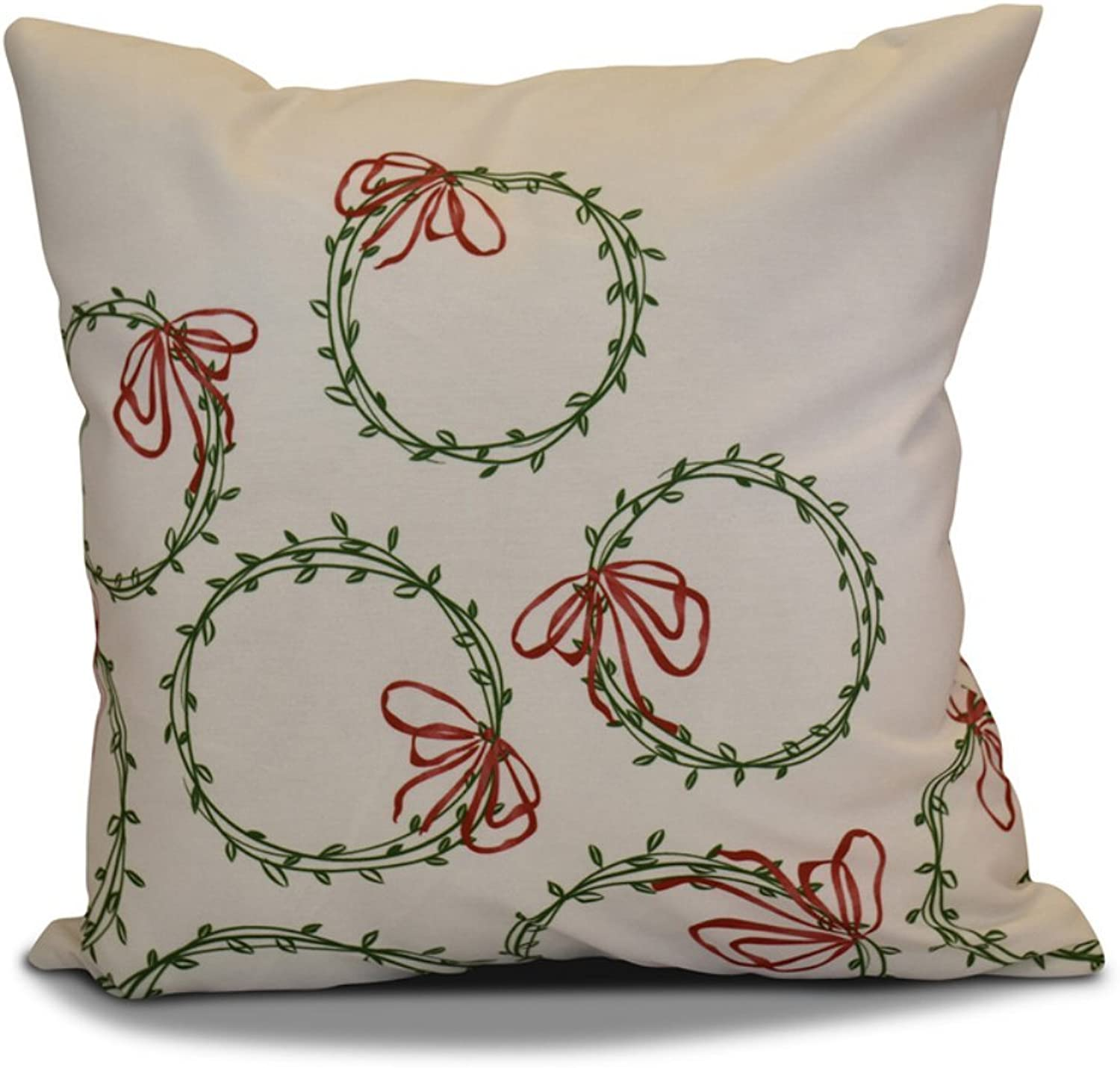 E by design O5PHGN695GR7RE116 16 X 16  Decorative Holiday Geometric Print Green Outdoor Pillow