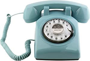 Sangyn Retro Rotary Telephone 1960's Style Old Fashioned Vintage Home Phone with Mechanical Ringer and Speaker Function