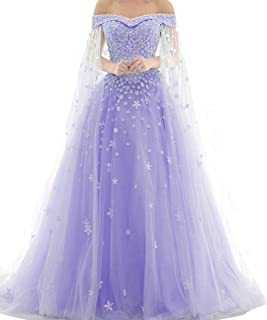 Kivary Off Shoulder Lace Beaded Long A Line Formal Prom Dresses Evening Gowns
