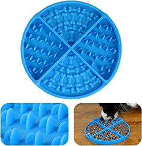 Slow Feeder Dog Bowls Feeding mat for Dogs Boredom and Anxiety Reduction ,Puzzle Toys for Calming Mat Anxiety Relief Dog and Cat 1 Pcs Blue