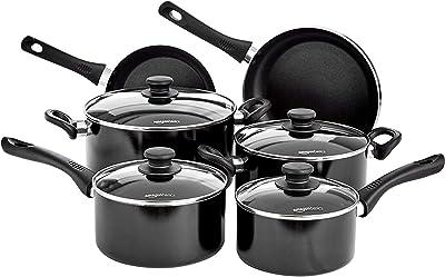 AmazonBasics 6 Piece Non Stick Induction Cookware Set, with Lids