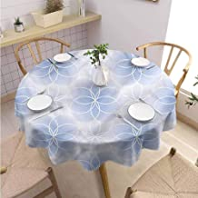 BNAREO Fabric Round Tablecloth Sacred Geometry Flower of Life Art Holiday Dinner Picnic Kitchen D59
