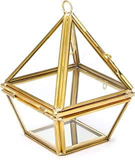 Hipiwe 2-Tier Jewelry Ring Display Holder - Glass Geometric Pyramid Jewelry Ring Organizer Case, Decorative Ring Bearer Gift Box Hanging Prism Ring Stand for Wedding, Proposal, Engagement