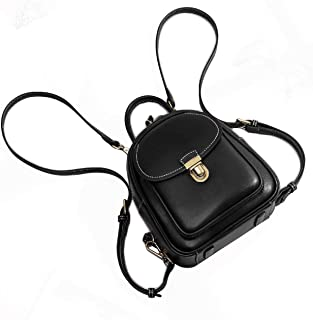 Women Genuine Leather Mini Backpack Convertable Straps Daypack