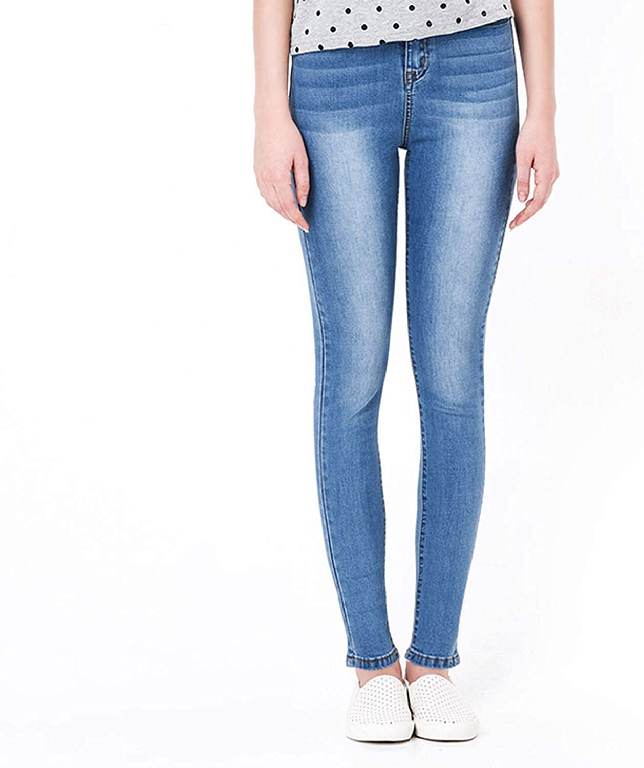 Alerghrg Jeans Woman High Elastic Plus Size Stretch Jeans Female Washed,Light bluee in White,S,Russian Federation