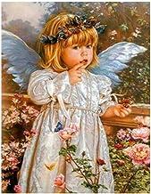 LIU Pintura Digital Cute Little Angel Girl Art Illustration DIY Digital Painting by Digital acrílico Picture Modern Wall Art Pintado a Mano Pintura al óleo en casa-24*24CM