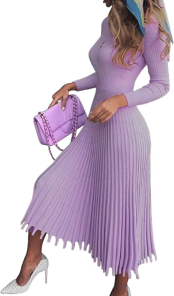 VERWIN Mid-Calf Pleated Dress Nine Points Sleeve Pullover Women's Maxi Dress Knit Dress Sweater Dress