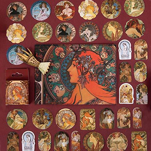 BLOUR retro decor sticker Kawaii beroemde schilderij briefpapier sticker papier lijm sticker voor kinderen scrapbooking dagboek Supplies46 stuks