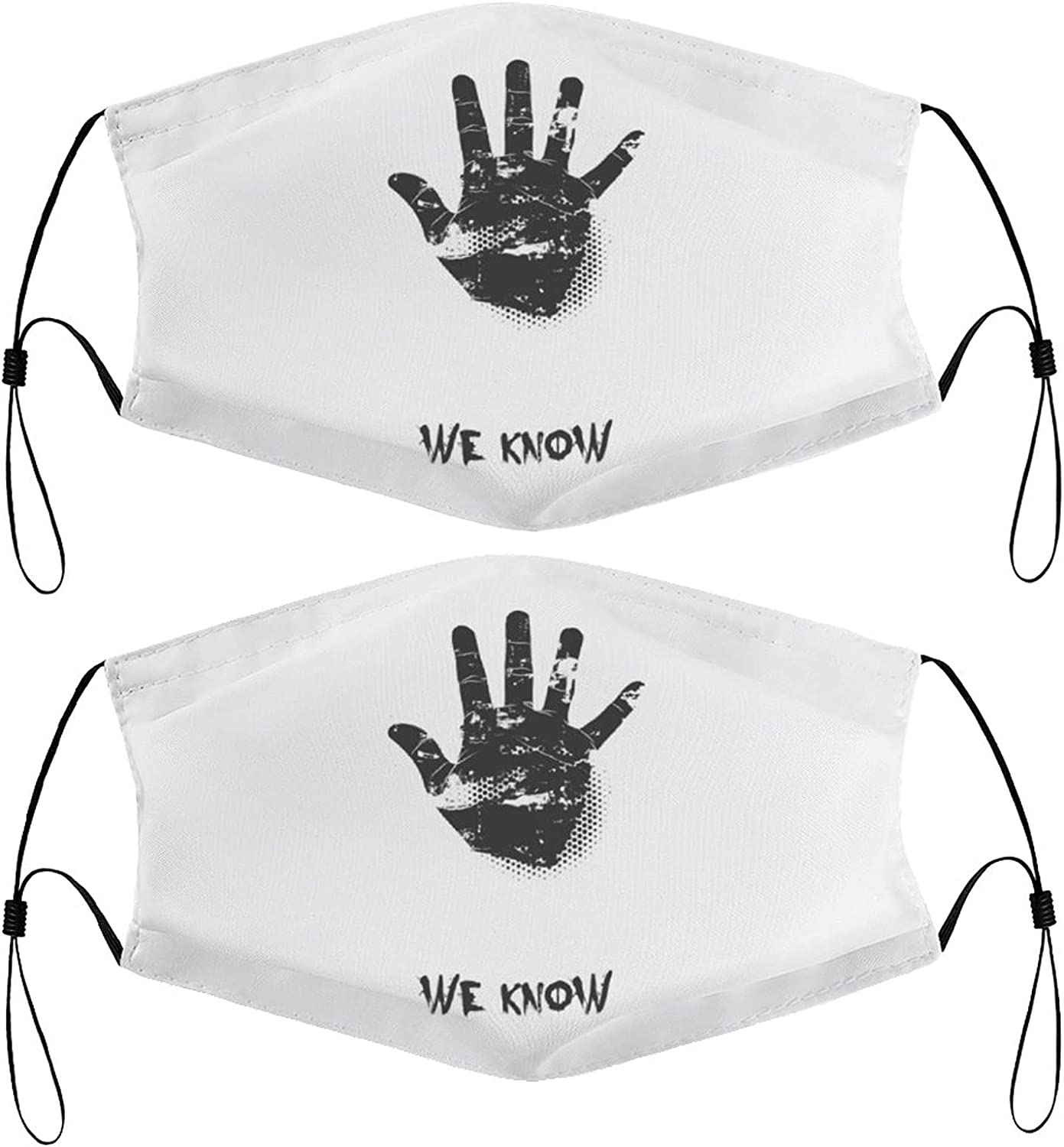 Hand Sign Kids Face Masks Set of 2 with 4 Filters Washable Reusable Breathable Black Cloth Bandanas Scarf for Unisex Boys Girls