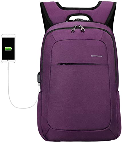 Kopack Slim Women Laptop Backpack 15.6 in with USB Charging Port Anti Theft Laptop Bag College Purple