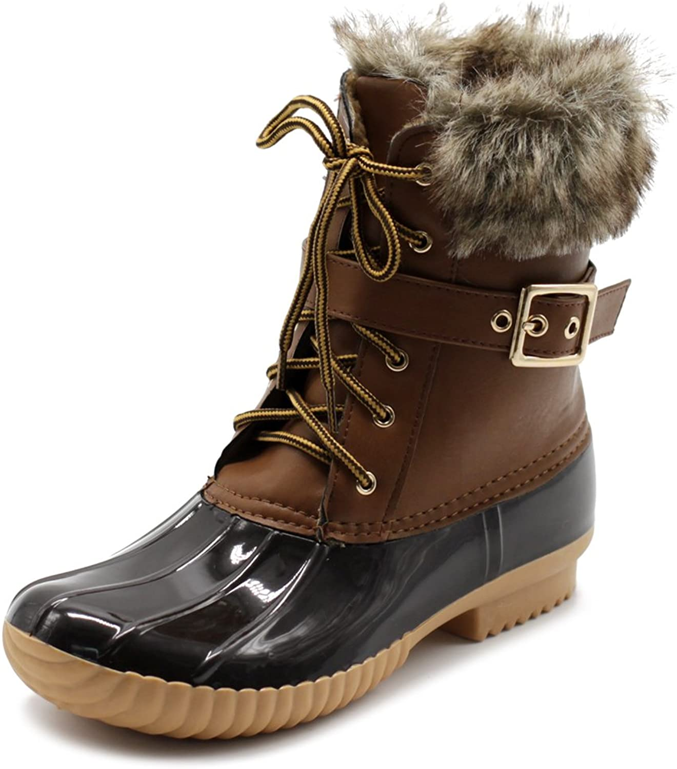 Ollio Women shoes Lace Up Faux Fur Buckled Duck Boots