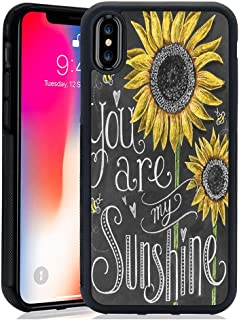 DragonCat You are My Sunshine iPhone X/10/Xs Case Hard Shell Back Cover Tire Pattern Soft Edge TPU + PC Material Black Phone Case for iPhone X/10/Xs You are My Sunshine