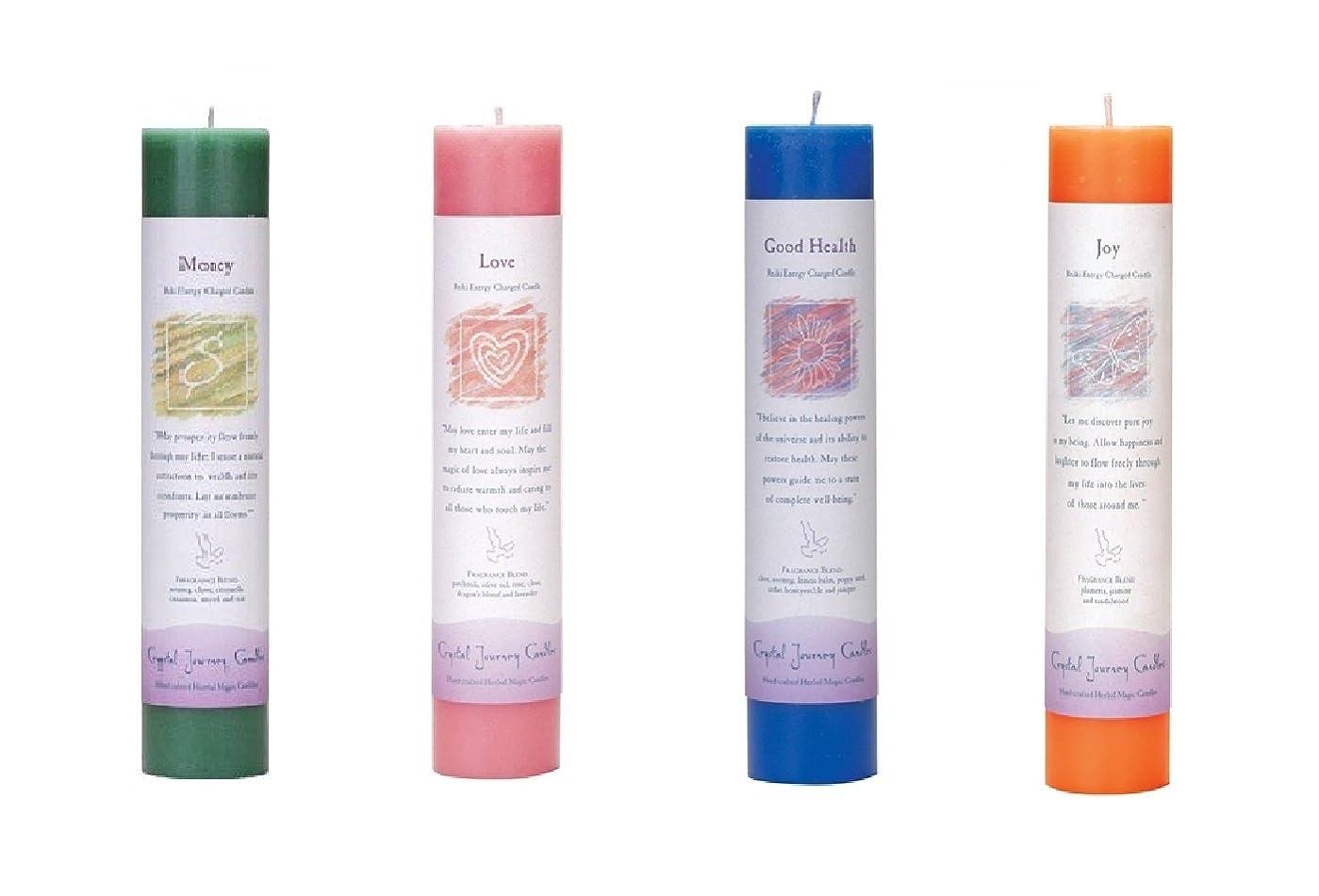 教えてシェア葬儀(Money, love, Good Health, Joy) - Crystal Journey Reiki Charged Herbal Magic Pillar Candle Bundle (Money, love, Good Health, Joy) - Bring Magic into your life now