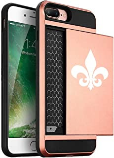 Wallet Credit Card ID Holder Shockproof Hard Case Cover for Apple iPhone Fleur-De-Lis (Rose-Gold, for Apple iPhone 7 Plus/iPhone 8 Plus)
