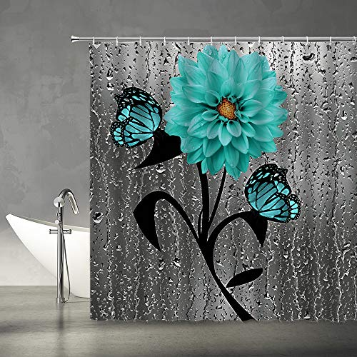 AMFD Teal Flower Butterfly Shower Curtain Dahlia Floral...
