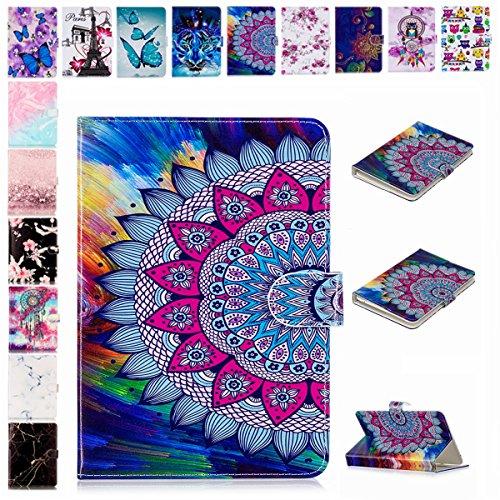 E-Mandala Universal 7 Zoll Hülle Etui Flip Case Leder Wallet Cover Tablet PC Tasche mit Kartenfach Klapphülle Ledertasche Lederhülle - Mandala Blumen