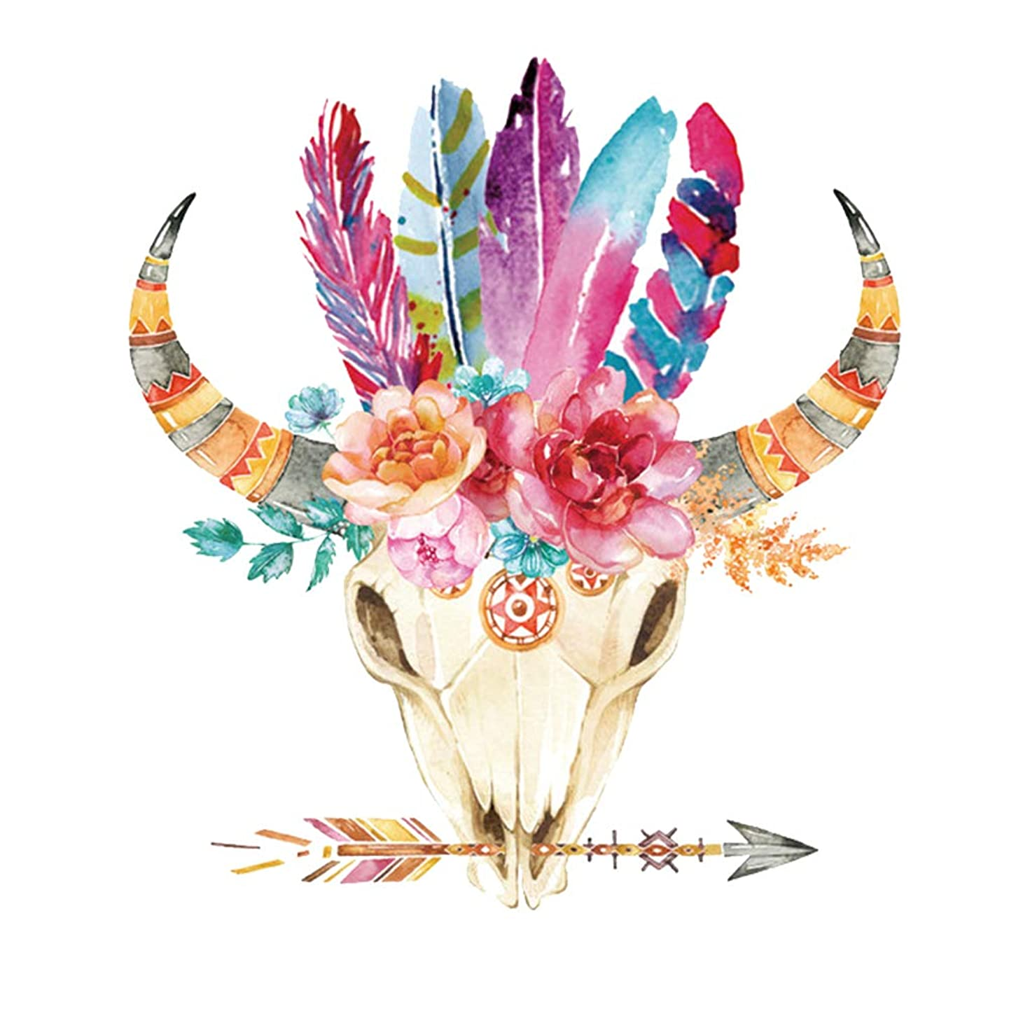 ARTEM Thermal Transfer Iron On Patches 10.2X9.3inch Indian Style Flowers Sheep Skull Stickers DIY Patch on Clothes Jacket