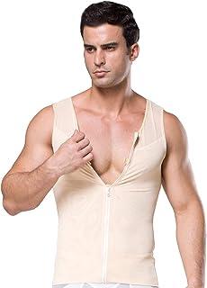 SOMTHRON Men's Quick Dry Fitness Zipper Tights Undershirt Tanks Sports Compression Abs Abdomen Slim Body Shaper Shirt