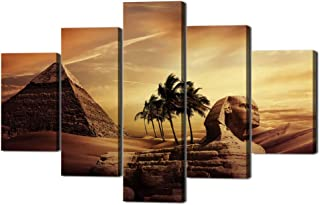 Ancient Egypt Mystery Extra Large Painting on Canvas Wall Art Modern Pyramid Secrets Sphinx Home Decor Post and prints for living room Pictures 5 Panel HD printed Framed Ready to Hang(60''Wx40''H)