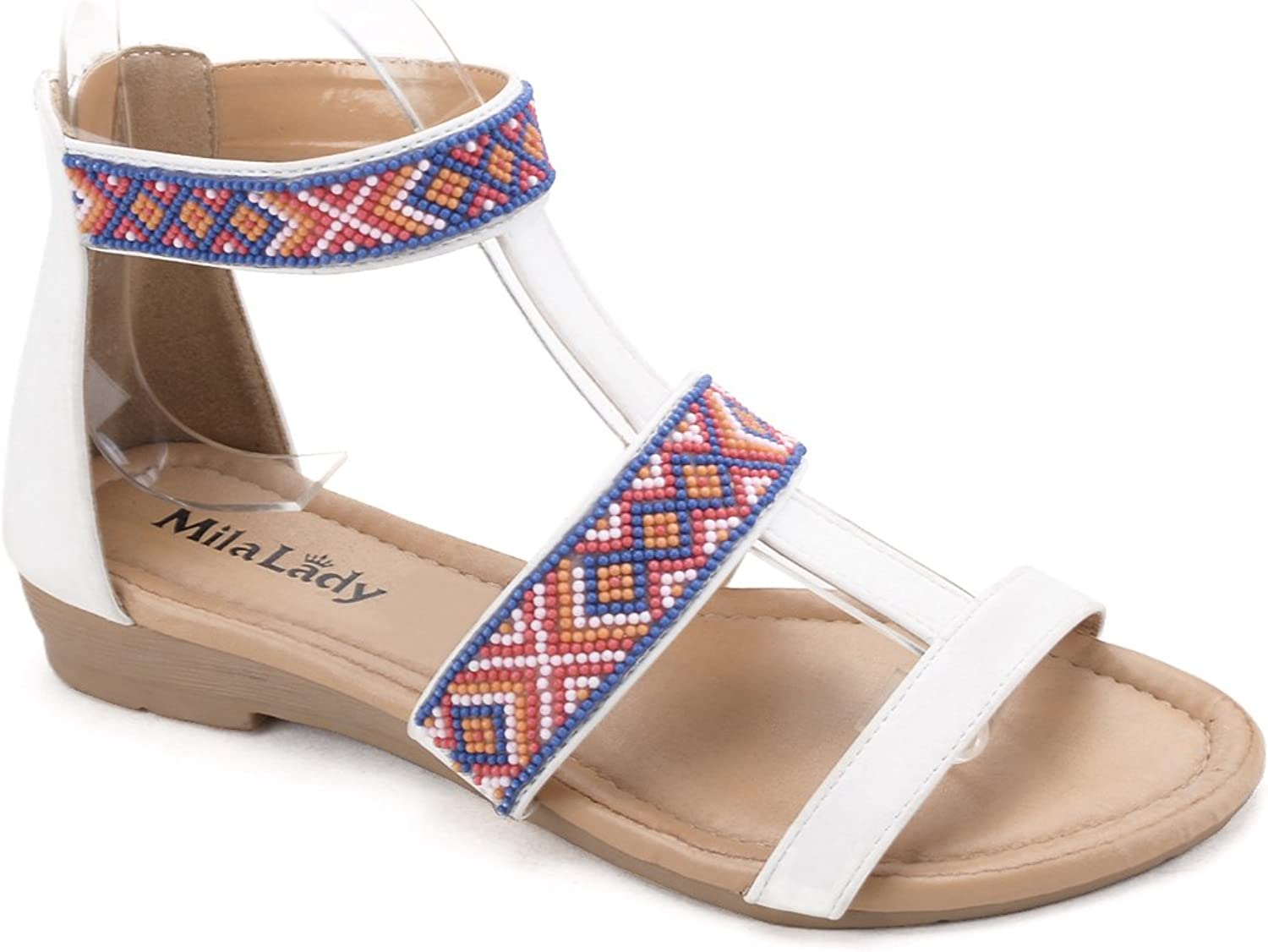 Mila Lady ALCIE-7 Tribal Beaded Indian Accent Comfortable Flat Sandal