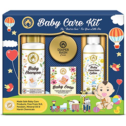 Mom & World Baby Care Collection Gift Pack - Baby Shampoo + Baby Soap + Baby Sunscreen Lotion + Diaper Rash Cream