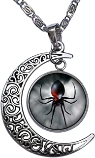 Black Widow Spider Crescent Moon Galactic Universe Glass Cabochon Pendant Necklace