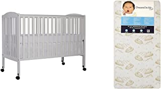 Dream On Me Full Size 2 in 1 Folding Stationary Side Crib with Dream On Me Spring Crib and Toddler Bed Mattress, Twilight