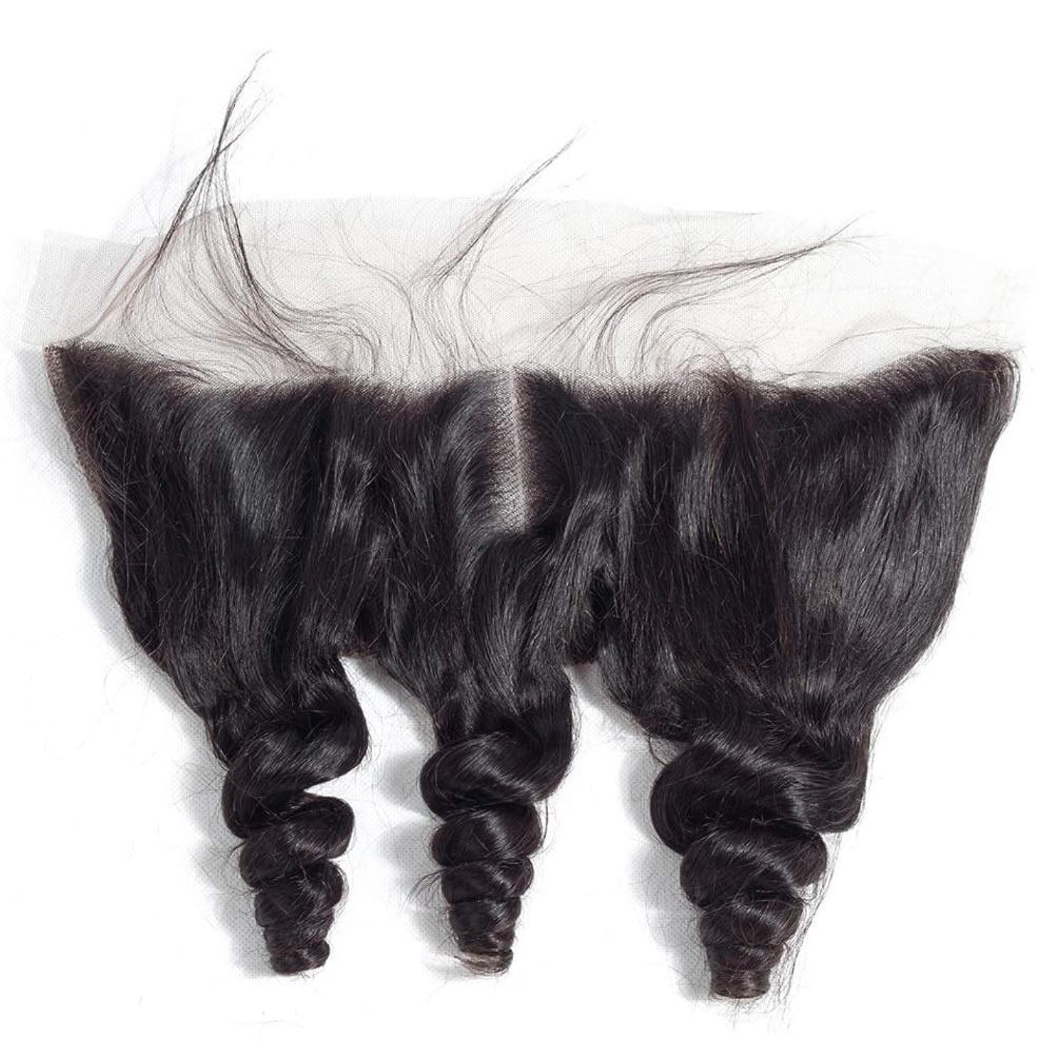 精巧なブラウスパールYrattary ブラジルルースウェーブヘアー13 * 4レース前頭閉鎖中央部人毛エクステンションファッションかつら (色 : ブラック, サイズ : 12 inch)