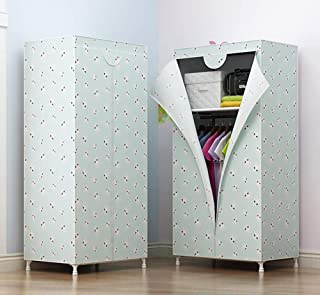 Dxtxx Single Wardrobe Fabric Cabinet  Clothes Hanger Storage Rack  Bedroom Assembly Wardrobe Triple  White Singlepull