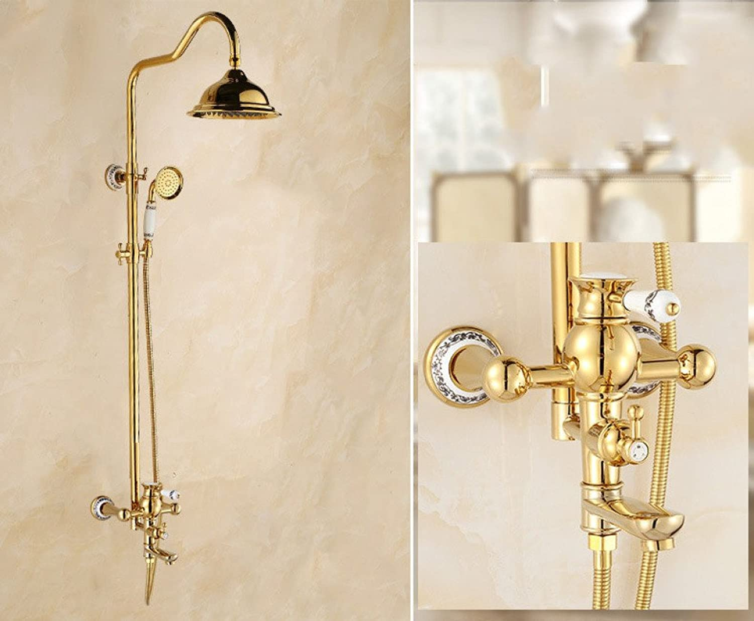 ZHWY household items ZHWY gold plating shower Handheld all bronze Shower set bathroom Hot and cold water Shower faucet,B
