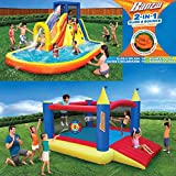 Inflatable Water Slide & Bounce House (Combo Pack) - Huge Heavy Duty Outdoor Kids Adventure Park Pool with Built in Sprinkler Wave and Slide With Large BONUS 12'x9' Bounce House - FREE Blower Included