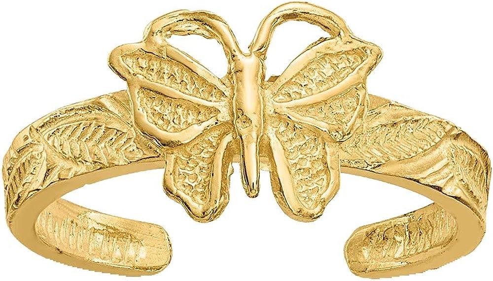 Nina's Jewelry Box 14K Yellow Gold Butterfly Toe Ring