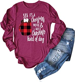 Anbech It's A Christmas Movie and Hot Chocolate Kind of Day T Shirt Womens Baseball Tee Hallmark Shirt Casual Tops