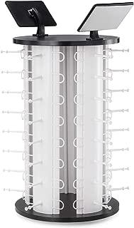 APL DISPLAY 360° Rotating Counter Top Sunglasses Display Rack with Mirror (40-Pair Capacity) (White, 40Pair)
