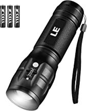 LE Torch, CREE LED Torch, Adjustable Focus Tactical Flashlight, Super Bright, Pocket Size. Suit for Camping, Cycling, Running, Dog Walking and More Outdoor Use, 3 AAA Batteries Included
