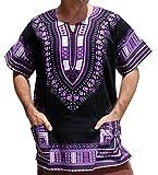 RaanPahMuang Brand Unisex Bright African Black Dashiki Cotton Shirt, Large, Violet/Black