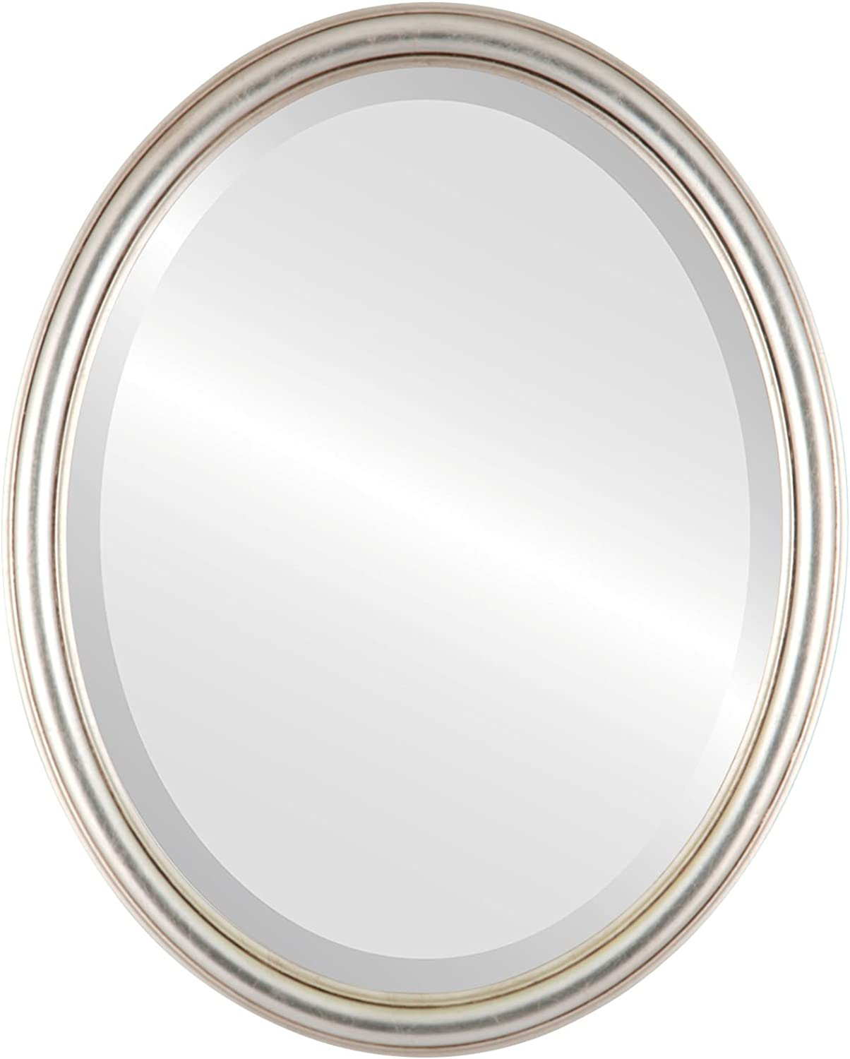 Saratoga Oval in Silver Leaf with Brown Antique