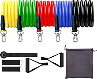 MOXIE 11pcs Resistance Bands Fitness Exercise Tube Rope,Including 5 Stackable Exercise Bands with Door Anchor,2 Foam Handl...
