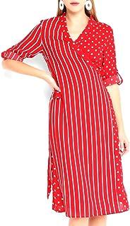 Red Dress Polka Dot Striped Wrap