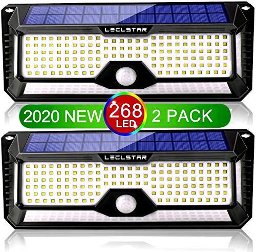 【Zwei Pack】268 LED Solarlampen für Außen mit Bewegungsmelder, LED Solarlampen für Außen 4400mAh Sicherheitswandleuchte mit 3 Modi, Solar Wandleuchte wasserdicht 1200LM Aussenleuchte Sensor kaltweiß