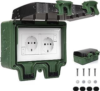 Außensteckdose IP66 Wetterfest, Außensteckdose Steckdose für Feuchtraum Garten den Aussenbereich, Aufputz Schutzkontakt Ho...