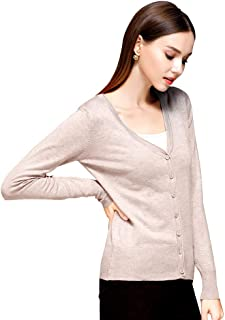 Cashmere Women's Button Low Neck Open-Front Cardigan Knit Pullover Sweater
