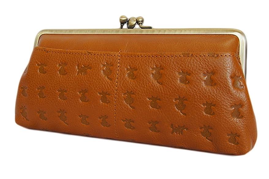 支出動ピン[アモレス] 日本製 キャット 三枚口 ロングがま口財布