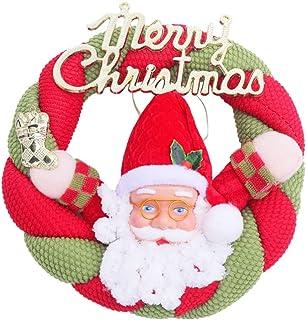 Amosfun Feliz Navidad Guirnalda de Puerta con muñeco de Santa Claus Decoraciones de Puerta de Navidad